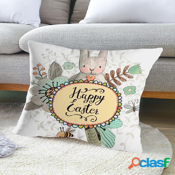 1 pc de páscoa coelho impressão de cartas estilo cartoon fronha decoração de casa sofá sala cobertura de almofada