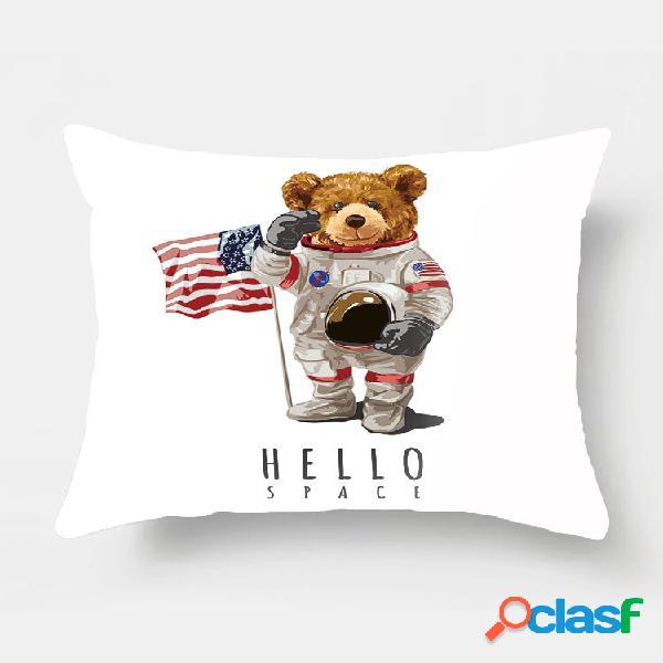 1 pc dos desenhos animados astronauta urso impressão fronha decoração de casa sofá sala de estar capa de almofada para c