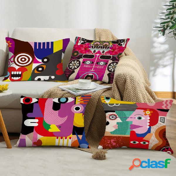 4 pcs colorful abstract padrão cartoon linho fronha decoração de casa sofá sala de estar capa de almofada para carro