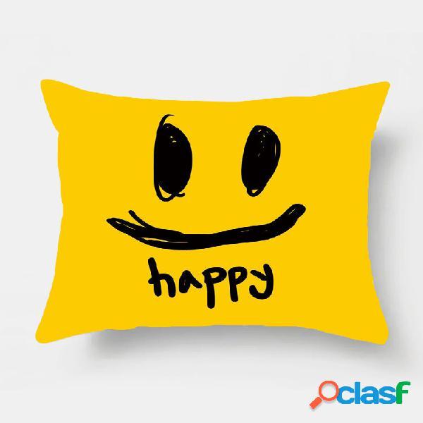 1 pc smile cartoon impressão simples fronha decoração de casa sofá sala de estar capa de almofada para carro