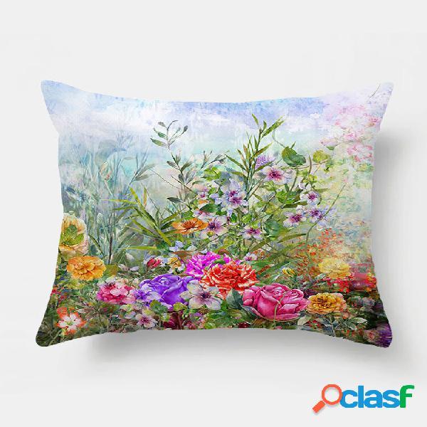 1 pc floral óleo impressão fronha decoração de casa sofá sala de estar capa de almofada de lance de carro