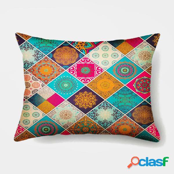 1 pc patchwork flowers colorful impressão fronha decoração de casa sofá sala de estar capa de almofada de lançamento de