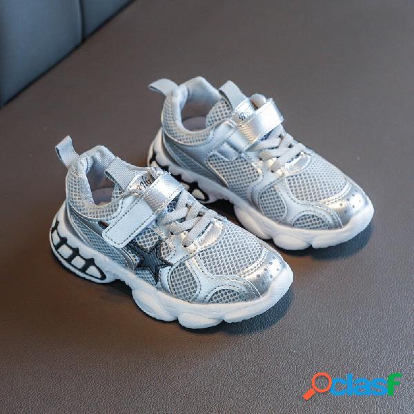 Unisex kids stylish mesh splicing antiderrapante soft sapatilhas casual