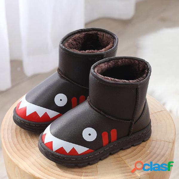 Unissex kids cute shark padrão tampas de forro de pelúcia quente em botas de neve
