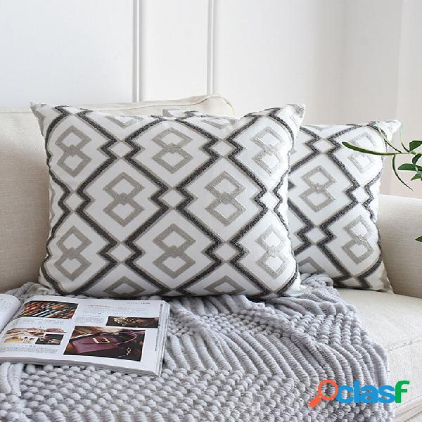 1 pc abstruct geométrico estilo nórdico bordado padrão fronha, decoração da casa, sofá, sala, carro, capa, almofada