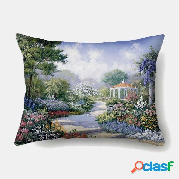 1 pc de verão romântico de paisagem estampada fronha decoração de casa sofá sala de estar capa de almofada de lance de c