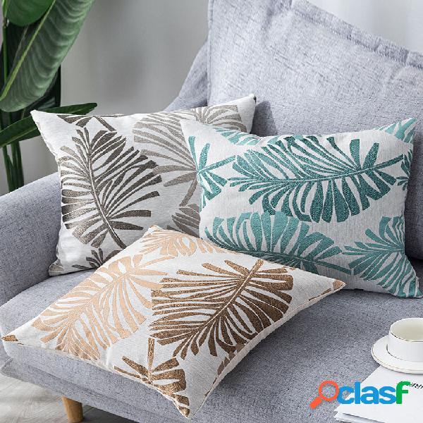1pc planta folha padrão fronha de linho de estilo moderno, decoração de casa, sofá, sala de estar, capa de almofada de l