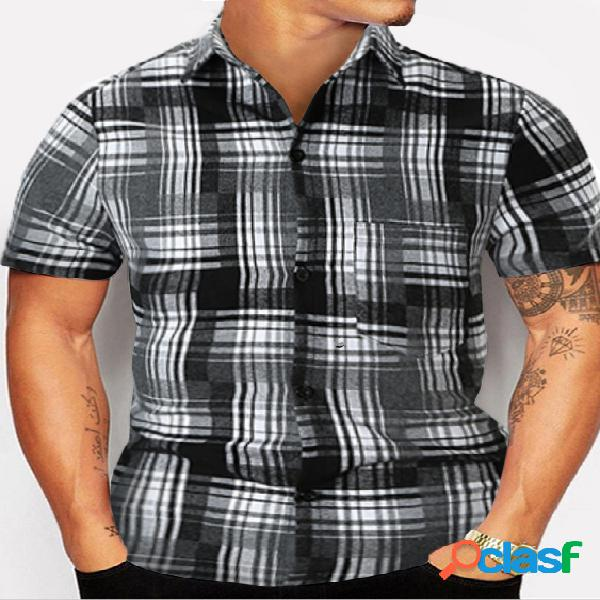 Moda masculina verão xadrez preto e branco casual camisa