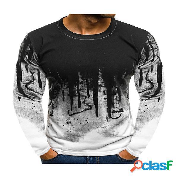 Masculino casual algodão soft tie dye ombre personality print camiseta de manga comprida