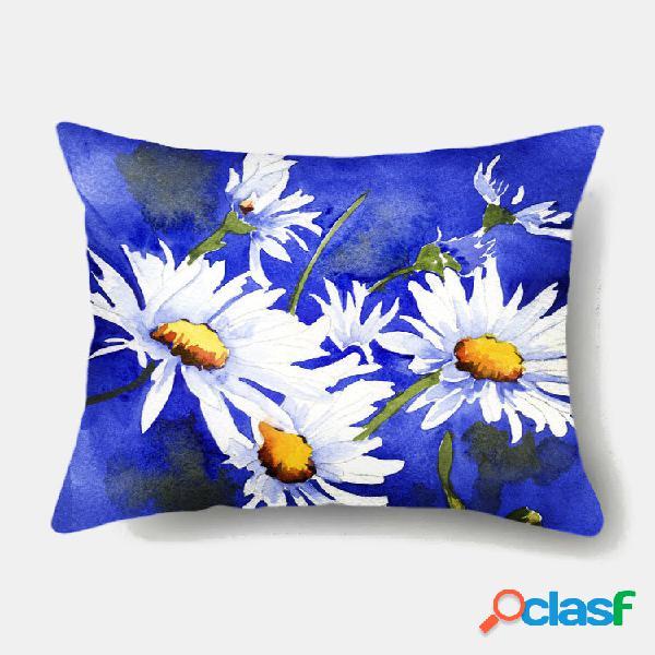 1 pc daisy flowers colorful impressão fronha decoração de casa sofá sala de estar capa de almofada de lançamento