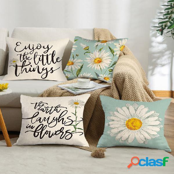 4 pcs carta floral padrão margarida girassol impressão linho fronha decoração da casa sofá sala de estar capa de almofad