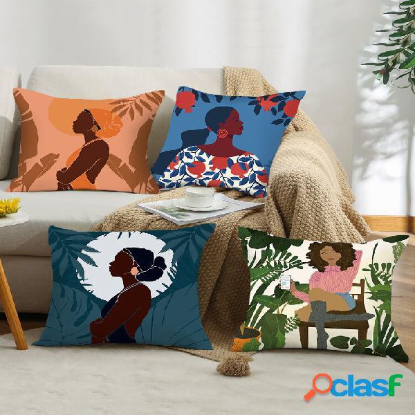 4 pcs colorful abstrato padrão desenho de figura feminina impressão fronha pele de pêssego decoração de casa sofá sala d