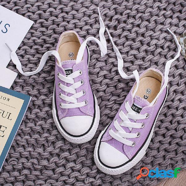 Unisex kids canvas low top confortável vestível lace up sapatos lisos casuais