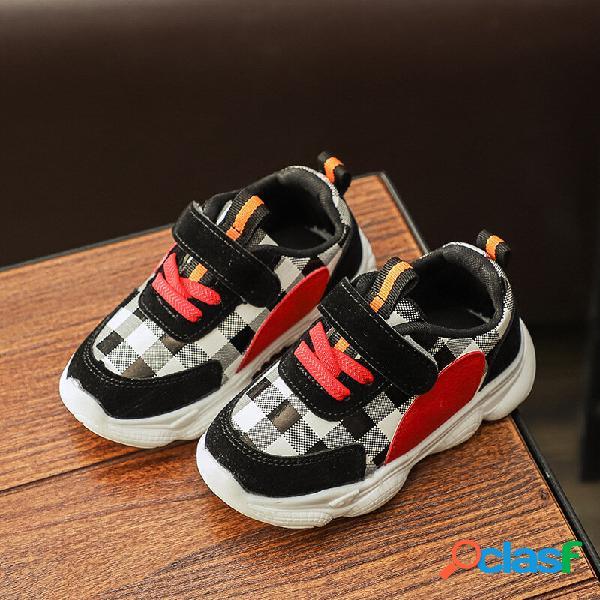 Unisex kids plaid slip resistente gancho loop casual sneakers