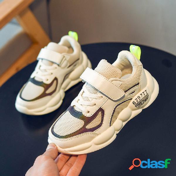 Hobibear unisex kids mesh splicing antiderrapante respirável casual chunky sneakers