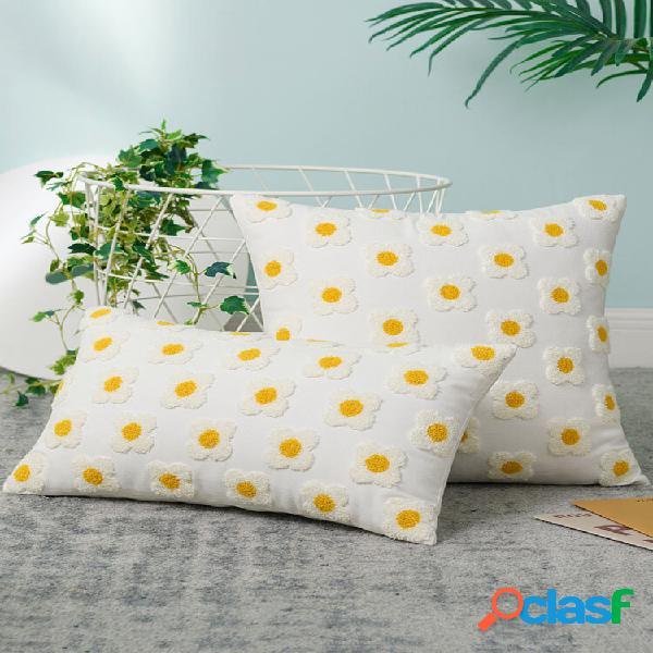 1 pc nordic fresh style 3d flower daisy padrão fronha de algodão decoração da casa sofá sala de estar janela de sacada d