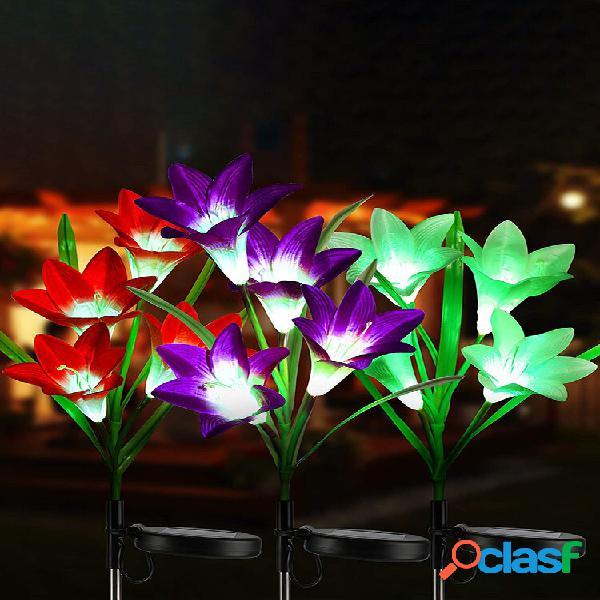 Energia solar led lily flower light lâmpadas economizadoras de energia para gramado ao ar livre caminho de jardim lâmpad