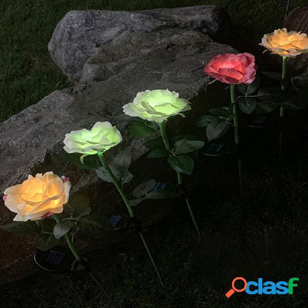 Energia solar led rosa flor lâmpada economizadora de energia para gramado ao ar livre caminho jardim jardim decoração lâ