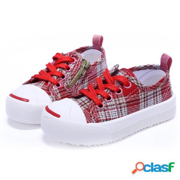 Unisex kids side zipper confortável antiderrapante low top casual xadrez sapatos de lona