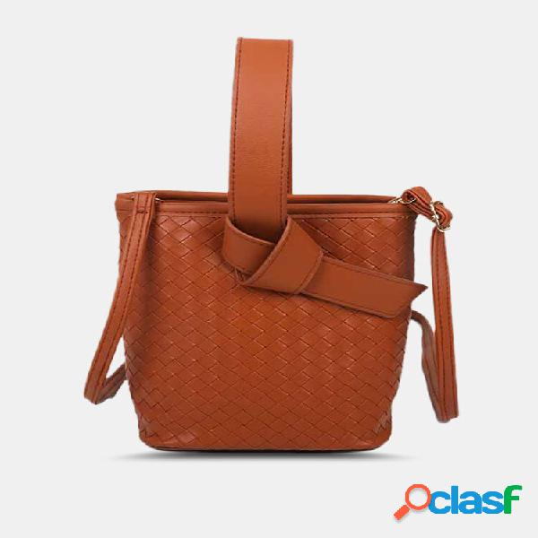 Bolsa feminina retrô falso couro tecido portátil de pressão magnética crossbody bolsa bolsa de mão