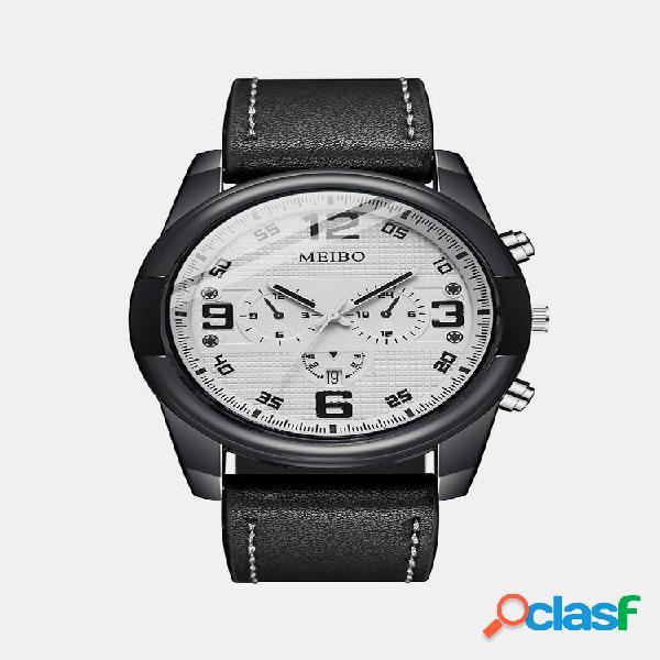 Relógio masculino moderno com mostrador de couro com três olhos banda relógio digital à prova d'água de quartzo