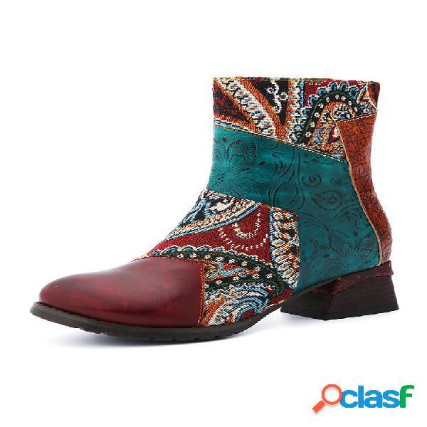 Socofy retro country style couro cor bloco paisley print side zipper soft botas curtas confortáveis