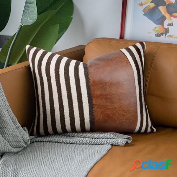 1 peça de algodão costurando listras grossas sofá doméstico nórdico criativo sofá cama de carro almofada decorativa fron