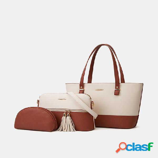 Bolsa feminina de 3 peças com borla patchwork de grande capacidade