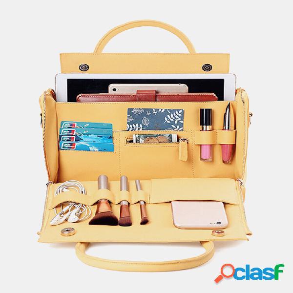 Dreame mulher solid cosmetic handbag capacity bolsa multifunction crossbody bolsa