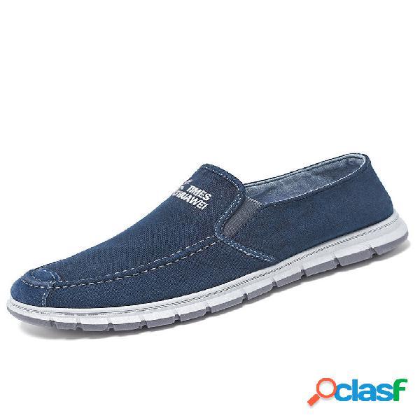 Men letter padrão elastic banda soft sapatos mocassins comfy slip-on stitching