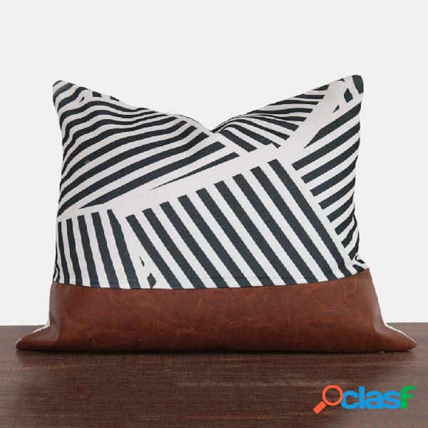 1 pc de algodão costurado listras moderno abstrato criativo nórdico sofá doméstico sofá cama de carro almofada decorativ