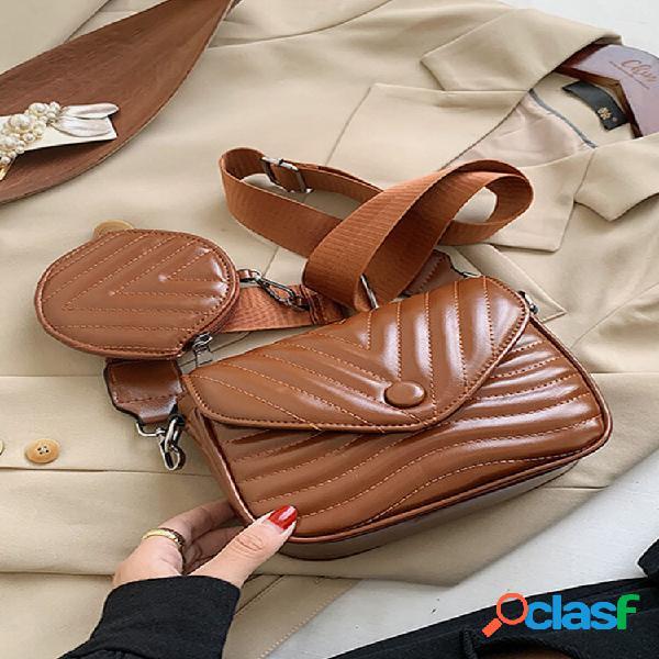 Conjuntos três em um, moda feminina, de couro falso, crossbody bolsa bolsa