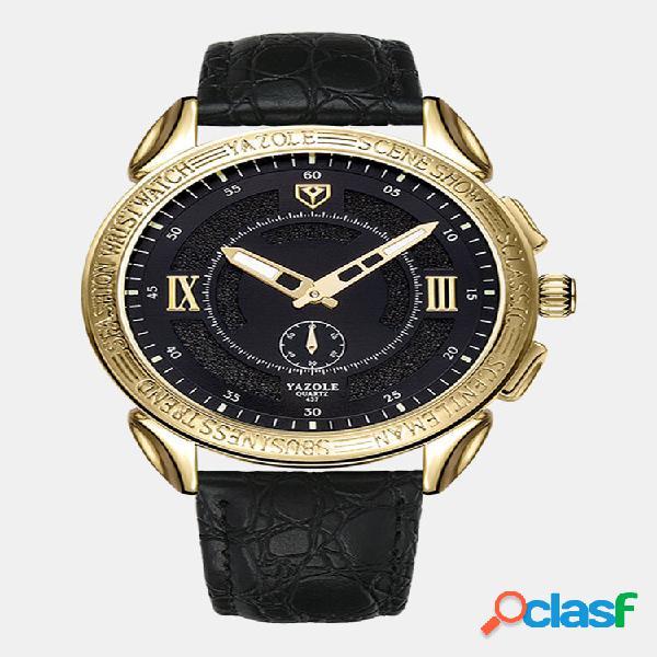 Relógio masculino vintage de couro fino banda relógio à prova d'água de quartzo de duas mãos