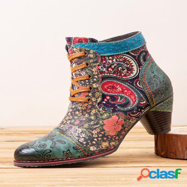 Socofy retro paisley padrão couro patchwork lace-up design botas laterais com zíper curto e confortável de salto baixo