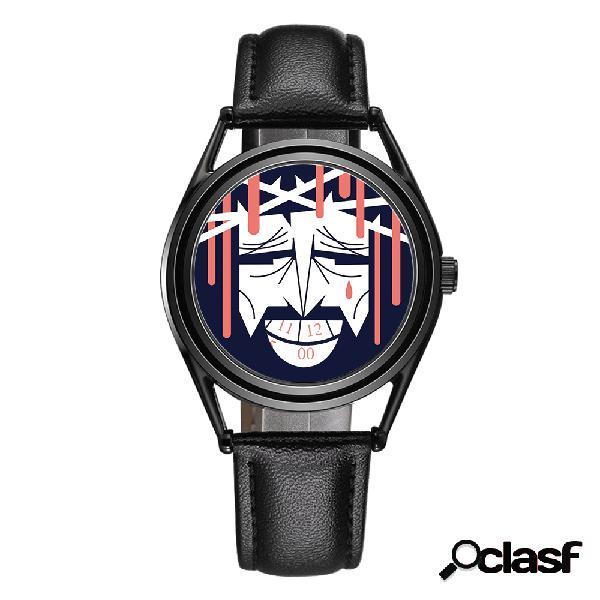 Vintage alloy couro genuíno cartoon padrão dial seconds plate men quartz watch