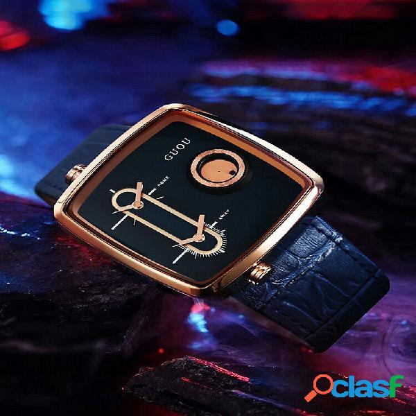 2 cores couro genuíno liga masculina vintage watch ponteiro de exibição de fuso horário duplo quartzo de movimento duplo