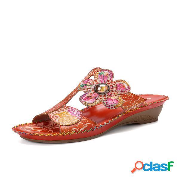 Costura artesanal de flores boêmias socofy couro genuíno sapatilhas de salto baixo ajustáveis para trás gancho sandálias
