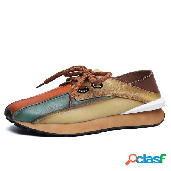 Socofy casual ethnic color block couro genuíno lace-up soft tênis de caminhada confortável plataforma