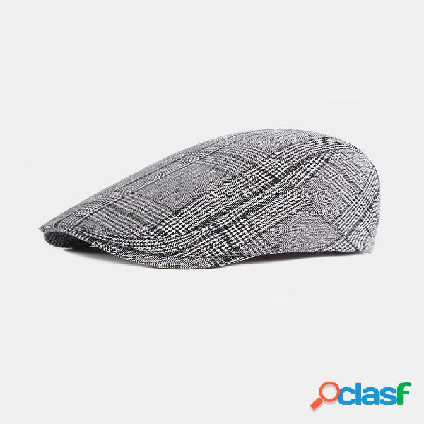 Xadrez de algodão masculino padrão ajustável casual plano chapéu frente chapéu boina chapéu