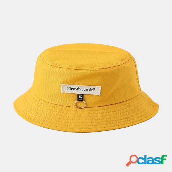 Algodão unissex cor sólida carta padrão remendo anel de ferro decoração balde de protetor solar combinado chapéu
