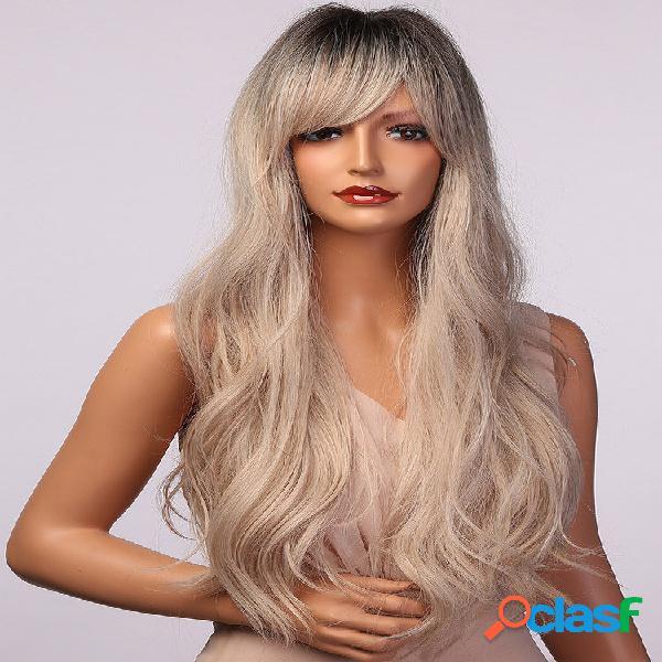 Cinza branco longo ondulado curls air bangs perucas sintéticas de uso diário