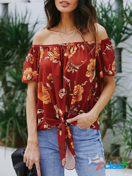 Blusa de alça elástica vermelha com estampa floral fora do ombro