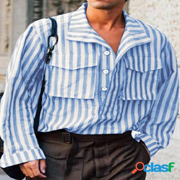 Incerun homens tarja vertical bolsos duplos manga comprida camisa
