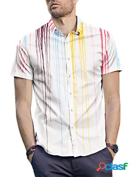 Incerun homens trendy splash print estilo de rua casual manga curta branca camisa