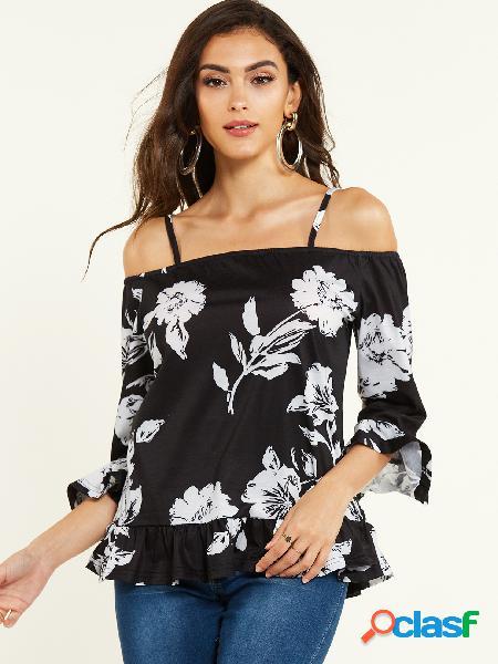 Yoins camiseta de alça espaguete com estampa floral preta aleatória de ombro frio