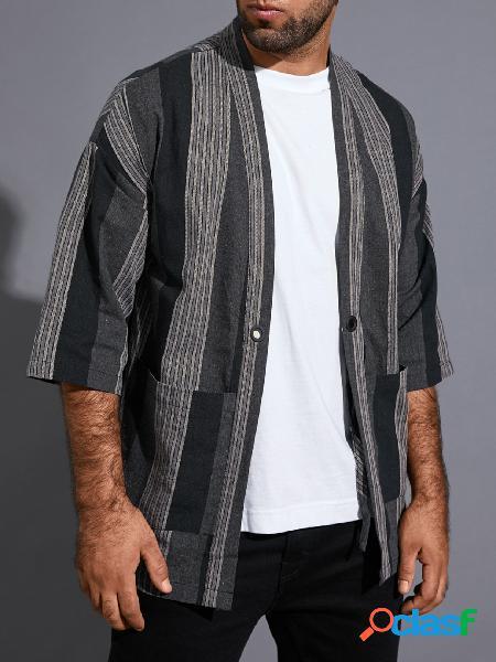 Casaco de proteção solar masculino casual listrado cor bloco casaco de bolso duplo