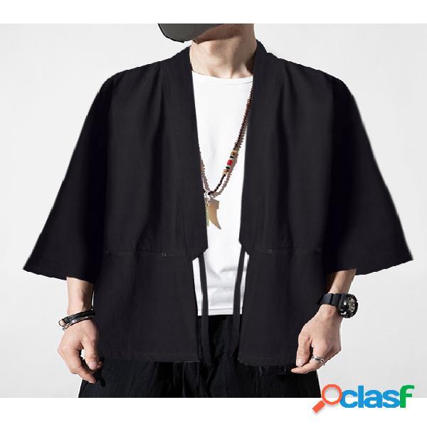 Casaco masculino retrô hanfu estilo chinês simples, casual, cardigã com nós