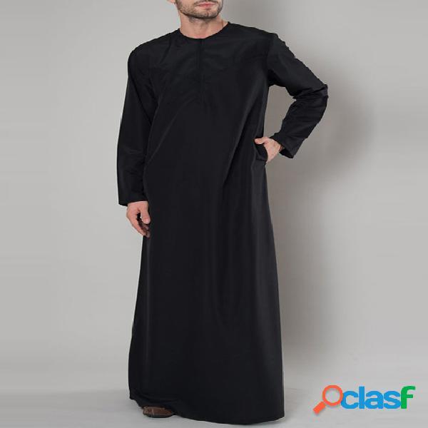 Incerun t-shirt com zíper árabe retro medieval masculino com gola redonda