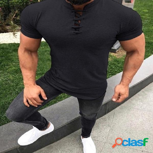Masculino verão casual algodão soft com decote em v t-shirt lisa com nós