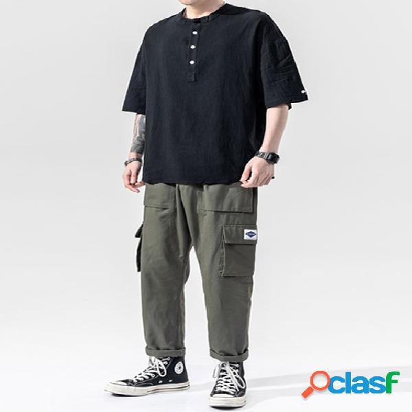 Masculino verão casual algodão soft simples botão frontal camiseta
